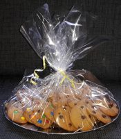 Cookies on a tin tray wrapped