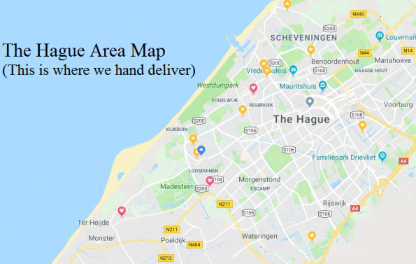 Tha Hague area delivery map