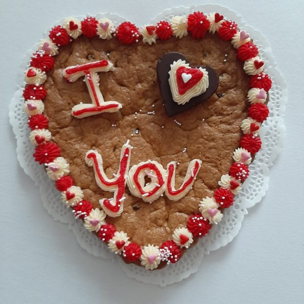 I love you cookie cake heart shaped
