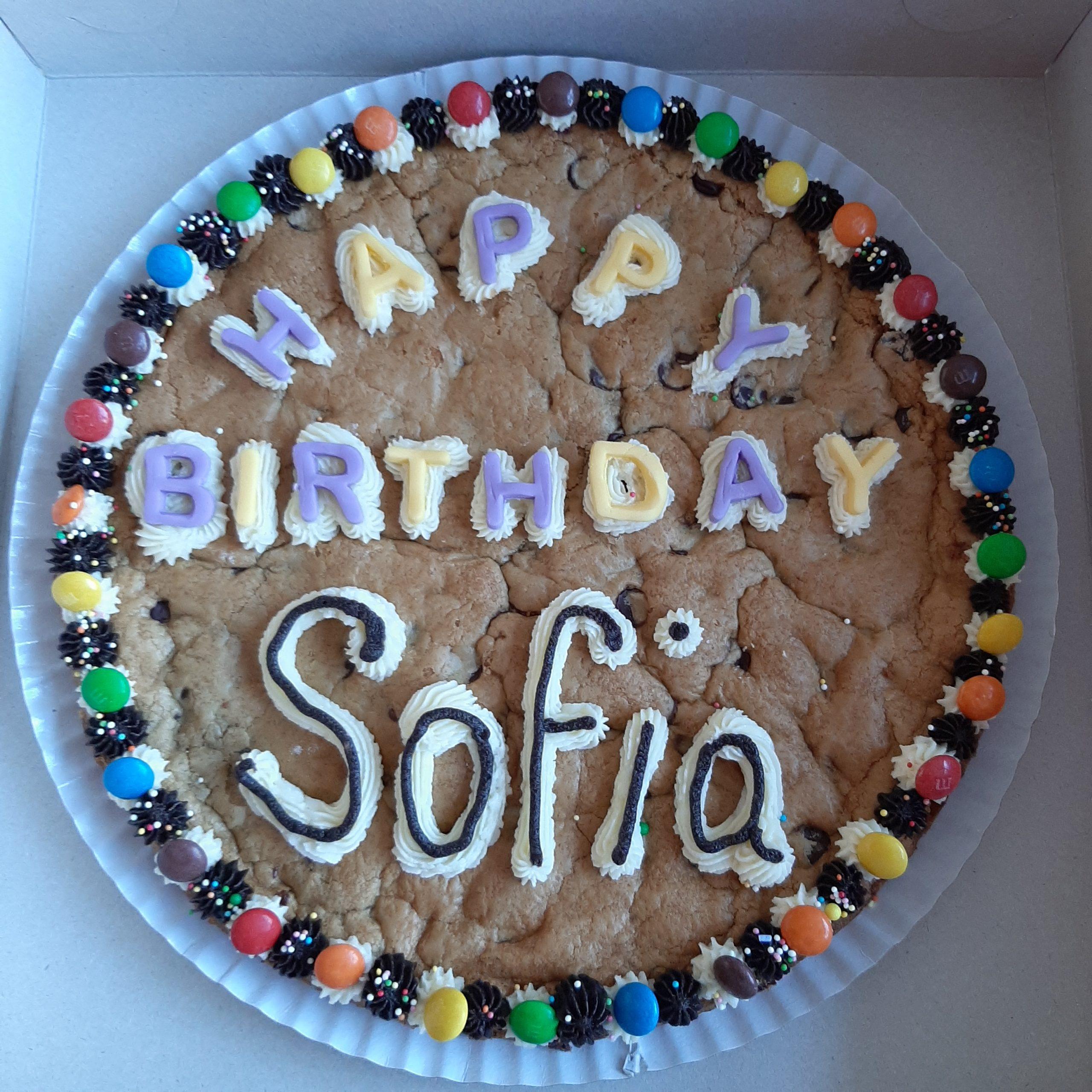 Happy Birthday Sofia cookie cake
