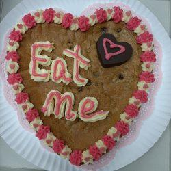 Eat me heart cookie cake